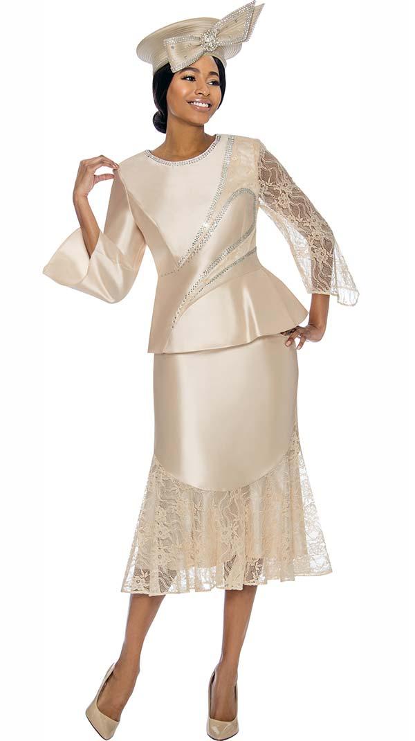 Terramina 7743 - Lace Detail Designed Flounce Skirt Set With Embellished Design Jacket