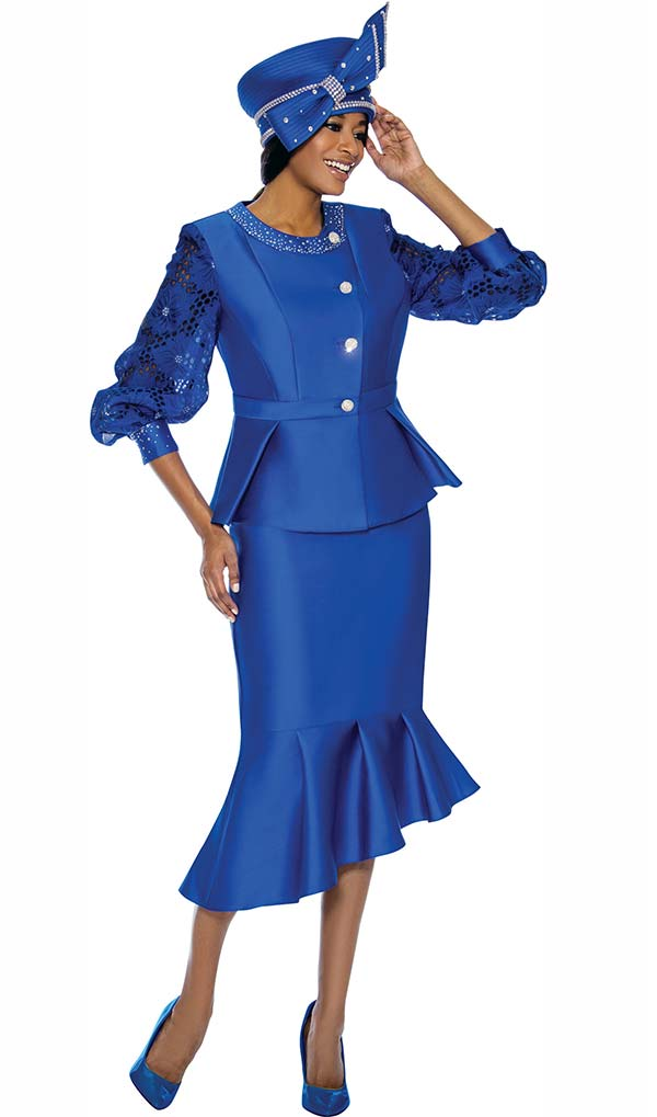 Terramina 7744 - Flounce Skirt Church Suit With Lace Cut-Out Sleeve Jacket