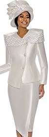 Terramina 7745 Asymmetric Design Womens Church Suit With Over Shoulder Portrait Style Collar