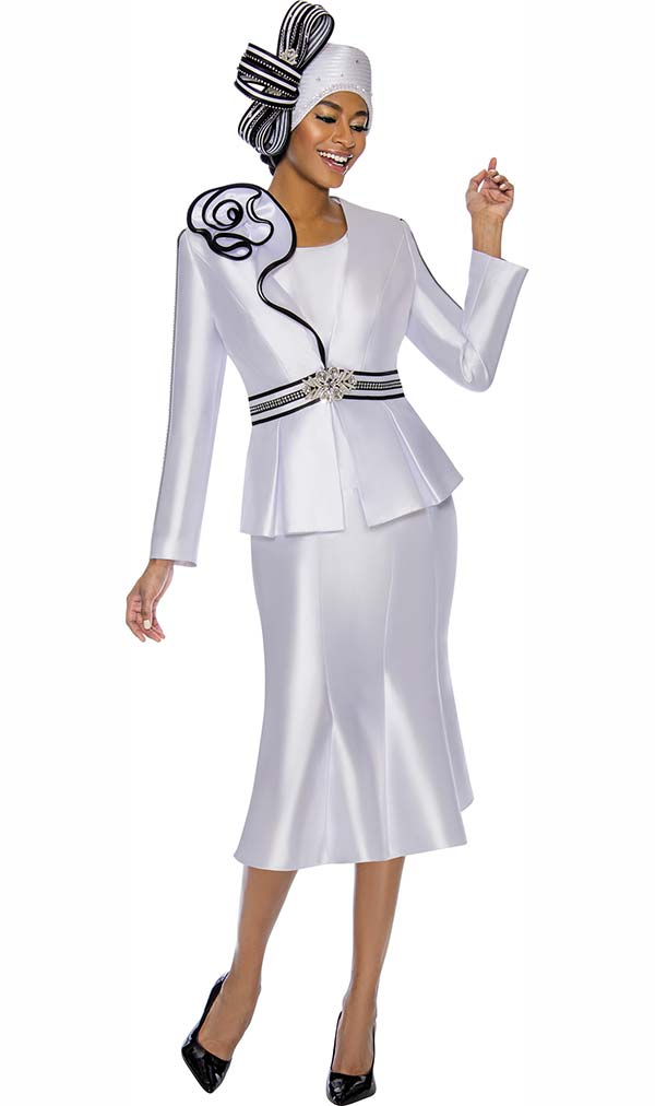 Terramina 7747 - Flared Skirt Church Suit With Ruffle Accented Jacket