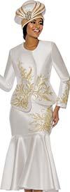Terramina 7748 - Floral Detail Designed Flared Skirt Set With Asymmetric Jacket