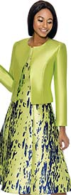 Terramina 7750 - Abstract Printed Dress Set With Solid Color Jacket