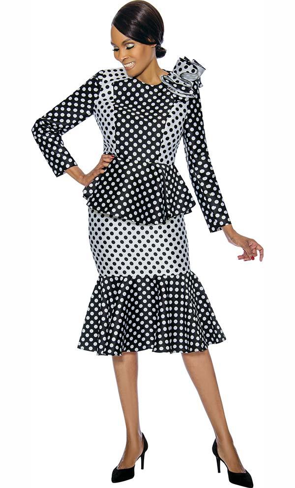 Terramina 7751 - Double Flounce Skirt Set With Polka Dot Pattern Design & Shoulder Ruffle