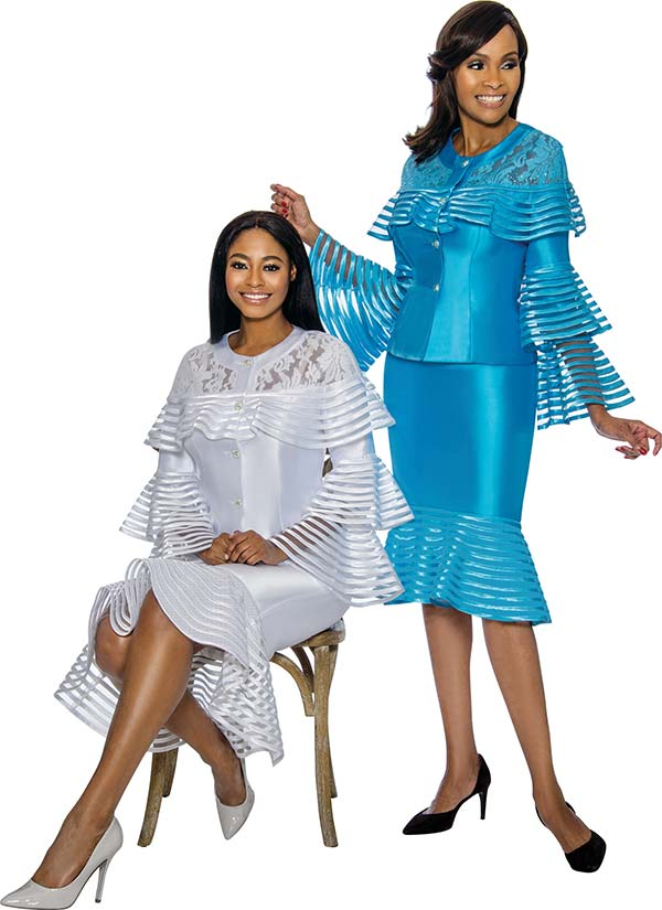Terramina 7752 - Striped Organza Design Womens Flounce Skirt Set With Tiered Bell Sleeves