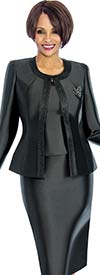 Terramina 7637-Black - Womens Church Suit With Embellished Trim On Jacket