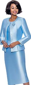 Terramina 7637-Blue - Womens Church Suit With Embellished Trim On Jacket