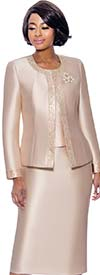 Terramina 7637-Champagne - Womens Church Suit With Embellished Trim On Jacket