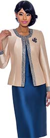 Terramina 7637-ChampagneNavy - Womens Church Suit With Embellished Trim On Jacket