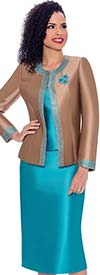 Terramina 7637-MochaTeal - Womens Church Suit With Embellished Trim On Jacket