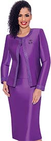 Terramina 7637-Purple - Womens Church Suit With Embellished Trim On Jacket