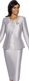 Terramina 7637-Silver - Womens Church Suit With Embellished Trim On Jacket