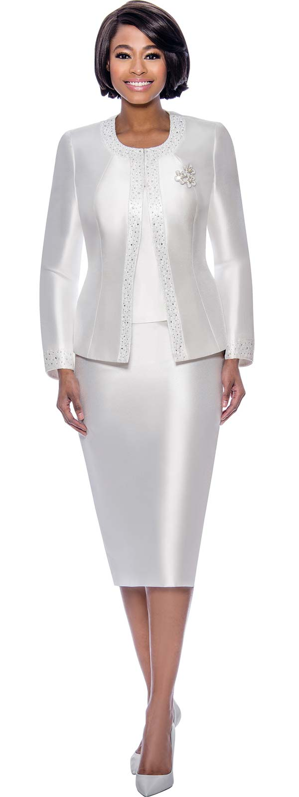 Terramina 7637-White - Womens Church Suit With Embellished Trim On Jacket