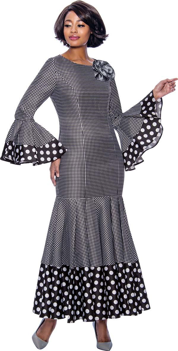 Terramina 7724-BlackWhite - Pleated Drop Waist Dress With Polka Dot Trims And Bell Cuffs