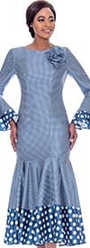 Terramina 7724-Blue - Pleated Drop Waist Dress With Polka Dot Trims And Bell Cuffs