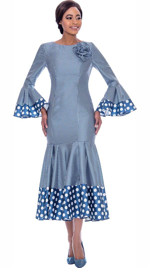 Terramina 7724-Blue - Pleated Drop Waist Dress With Polka Dot Trims And Bell Cuffs