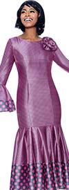 Terramina 7724-Pink - Pleated Drop Waist Dress With Polka Dot Trims And Bell Cuffs