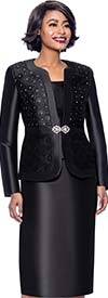 Terramina 7726-Black - Womens Skirt Suit With Brocade Style Inset Design Jacket