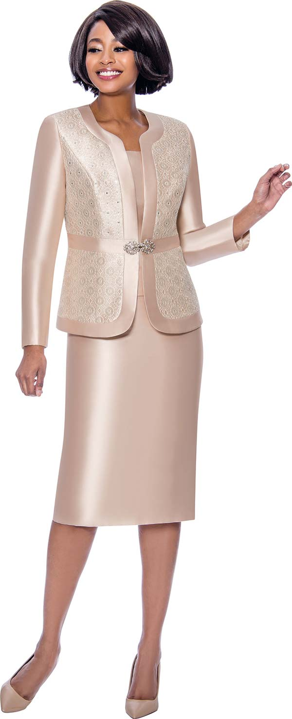 Terramina 7726-Champagne - Womens Skirt Suit With Brocade Style Inset Design Jacket
