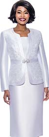 Terramina 7726-White - Womens Skirt Suit With Brocade Style Inset Design Jacket