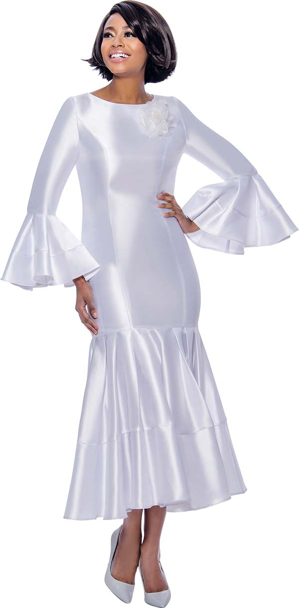 Terramina 7764-White - Pleated Drop Waist Dress With Flounce Sleeves
