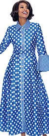 Terramina 7785-Royal - Long Pleated Dress In Polka Dot Design With Bell Cuff Sleeves