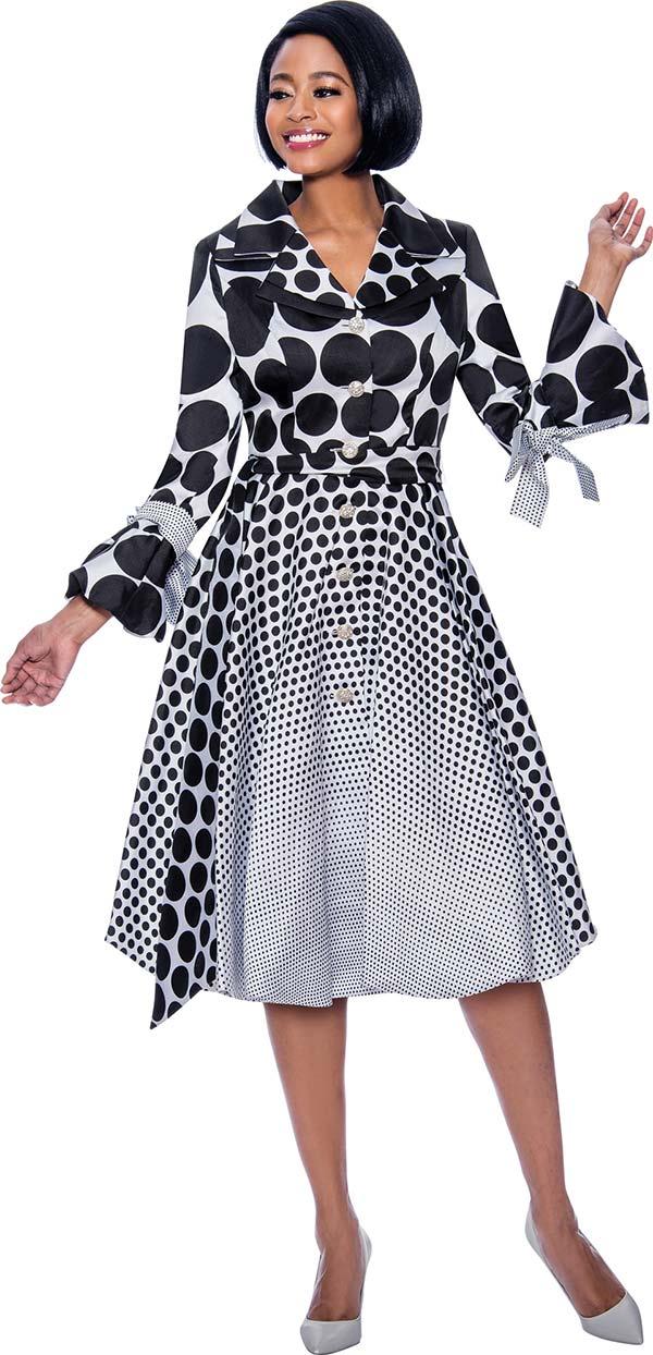 Terramina 7794-Black Pleated Polka Dot Dress Decorated With Bows