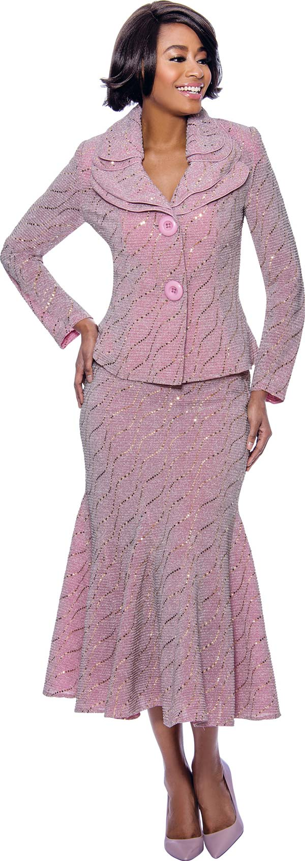 Terramina 7795-Rose - Embellished Flared Skirt Suit With Layered Collar And Two Button Jacket