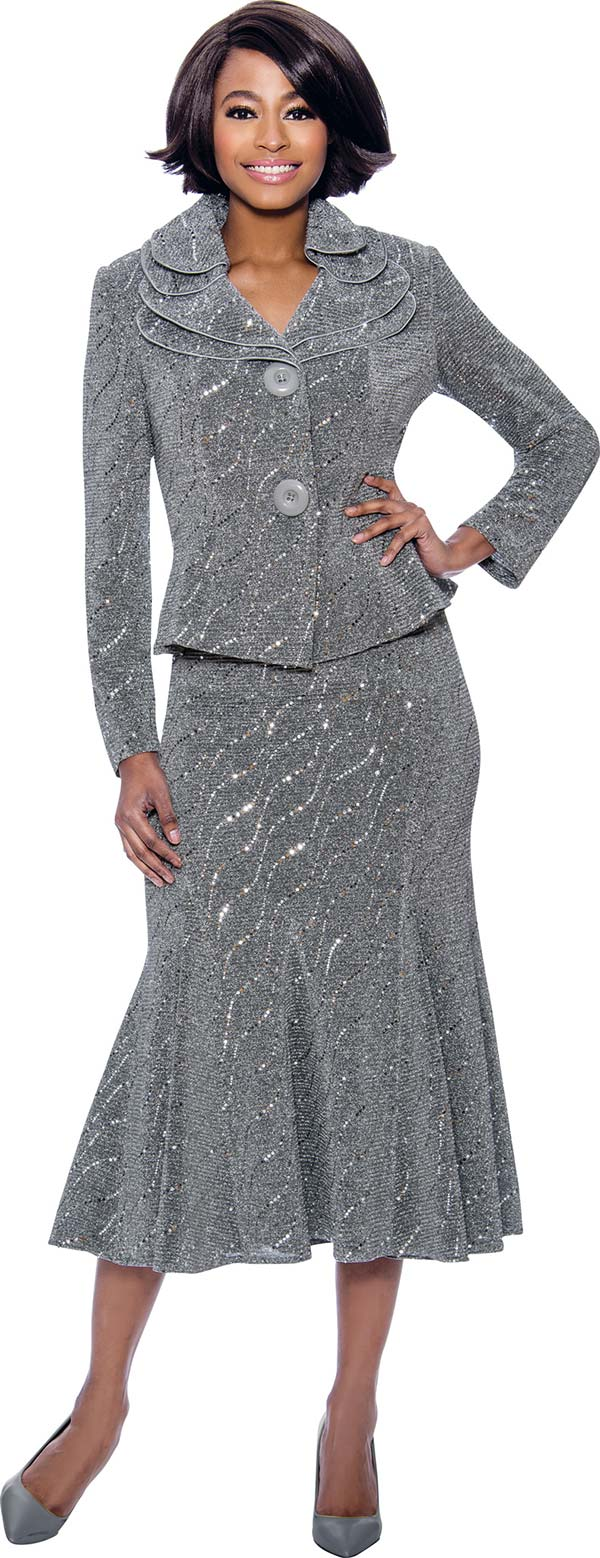 Terramina 7795-Silver - Embellished Flared Skirt Suit With Layered Collar And Two Button Jacket