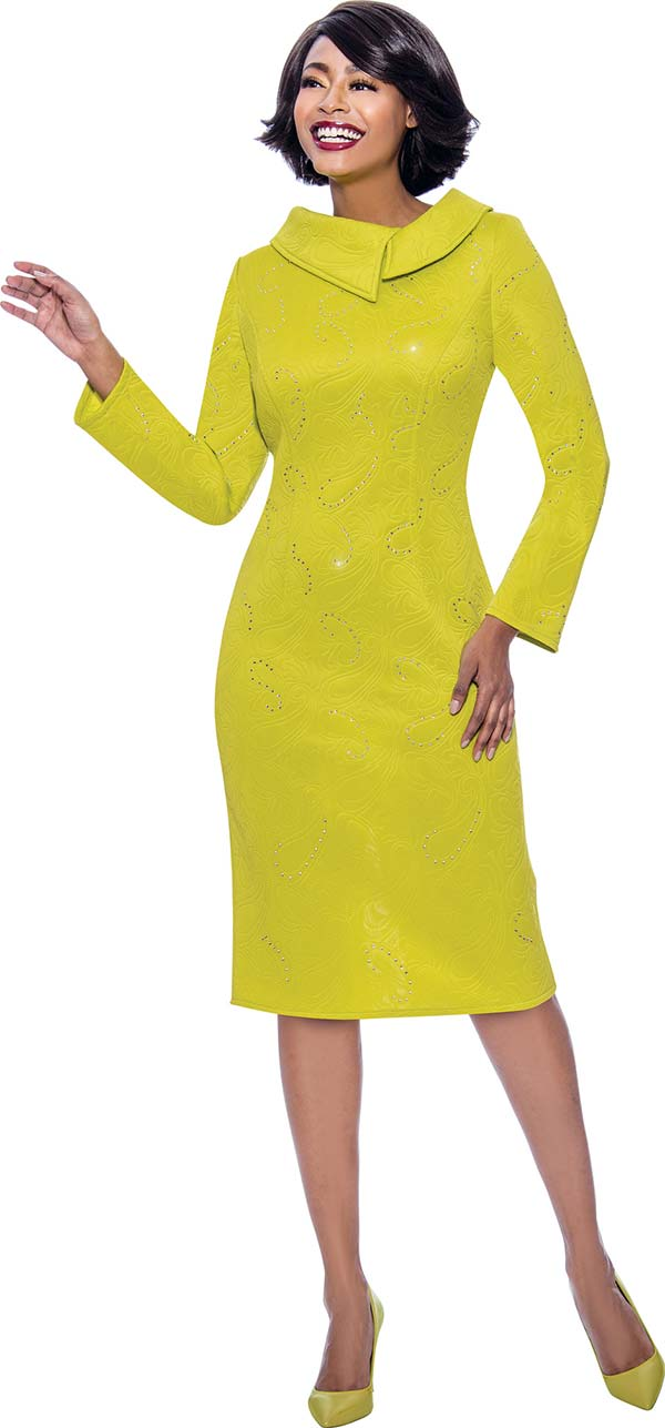 Terramina 7804 - Embellished Sheath Dress With Split Roll Collar
