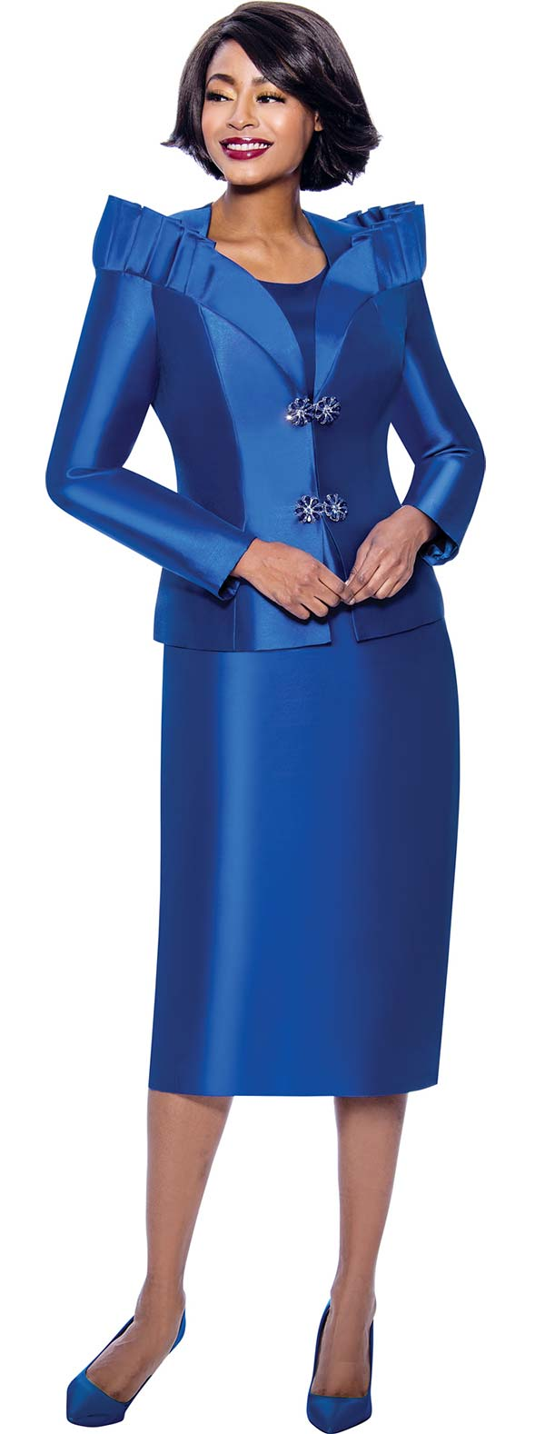 Terramina 7811-Royal - Womens Church Suit Featuring Pleated Stand-Up Over Shoulder Collar