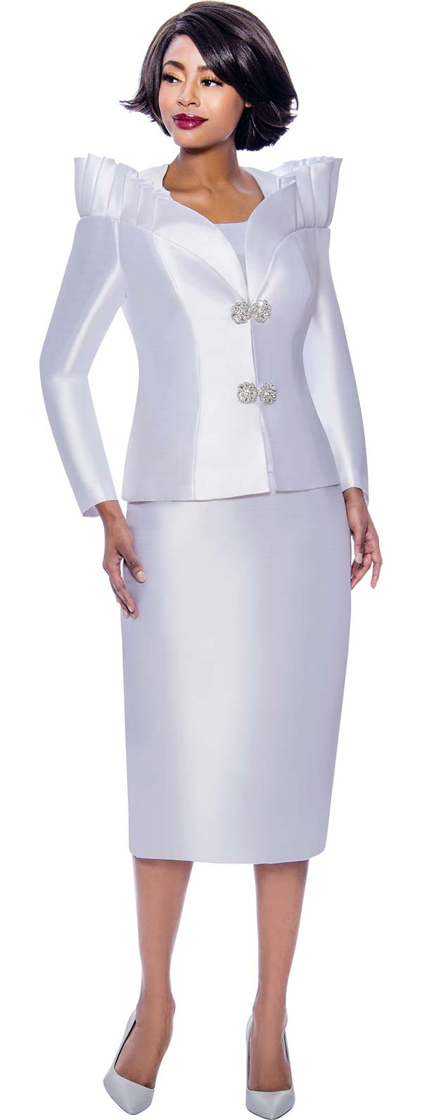 Terramina 7811-White - Womens Church Suit Featuring Pleated Stand-Up Over Shoulder Collar