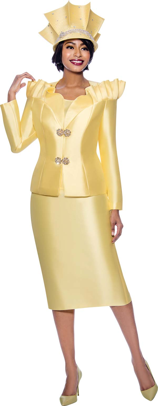 Terramina 7811-Yellow - Womens Church Suit Featuring Pleated Stand-Up Over Shoulder Collar