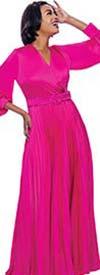 Terramina 7812-Fuchsia - Accordion Pleated Vee Neckline Dress With Bishop Sleeves & Belt