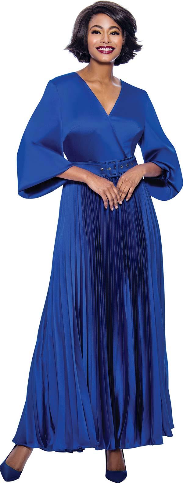 Terramina 7812-Royal - Accordion Pleated Vee Neckline Dress With Bishop Sleeves & Belt