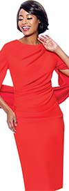 Terramina 7816-Orange - Ladies Ruched Dress With Vee Back Neckline And Sleeves Joined Behind Waist