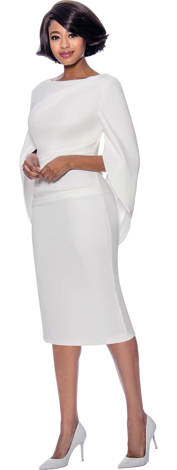 Terramina 7816-White - Ladies Ruched Dress With Vee Back Neckline And Sleeves Joined Behind Waist