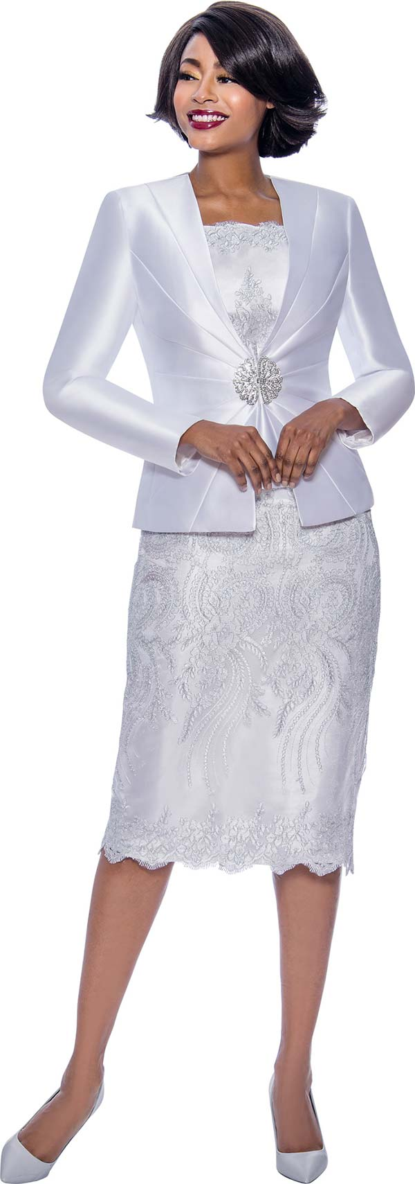 Terramina 7817 Silk Look Womens Church Suit With Lace Detailed Skirt And Camisole