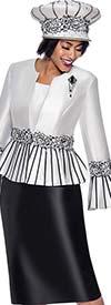 Terramina 7819 - Womens Church Suit Featuring Striped Peplum  Bell Cuff Jacket