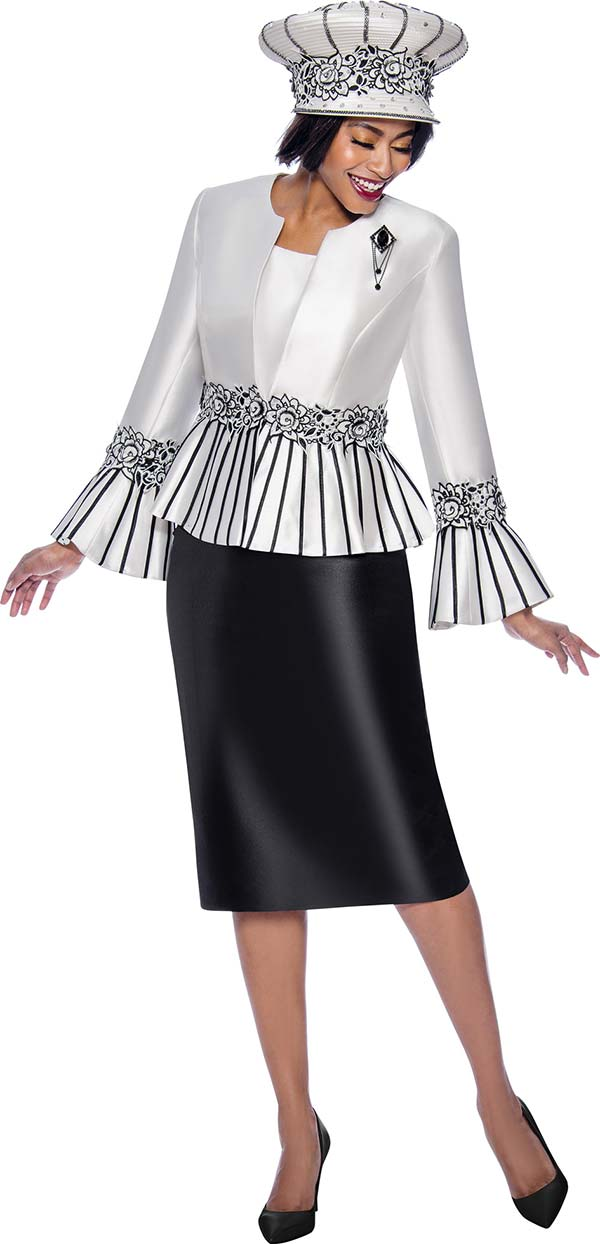 Terramina 7819 - Womens Church Suit Featuring Striped Peplum  Bell Cuff Jacket