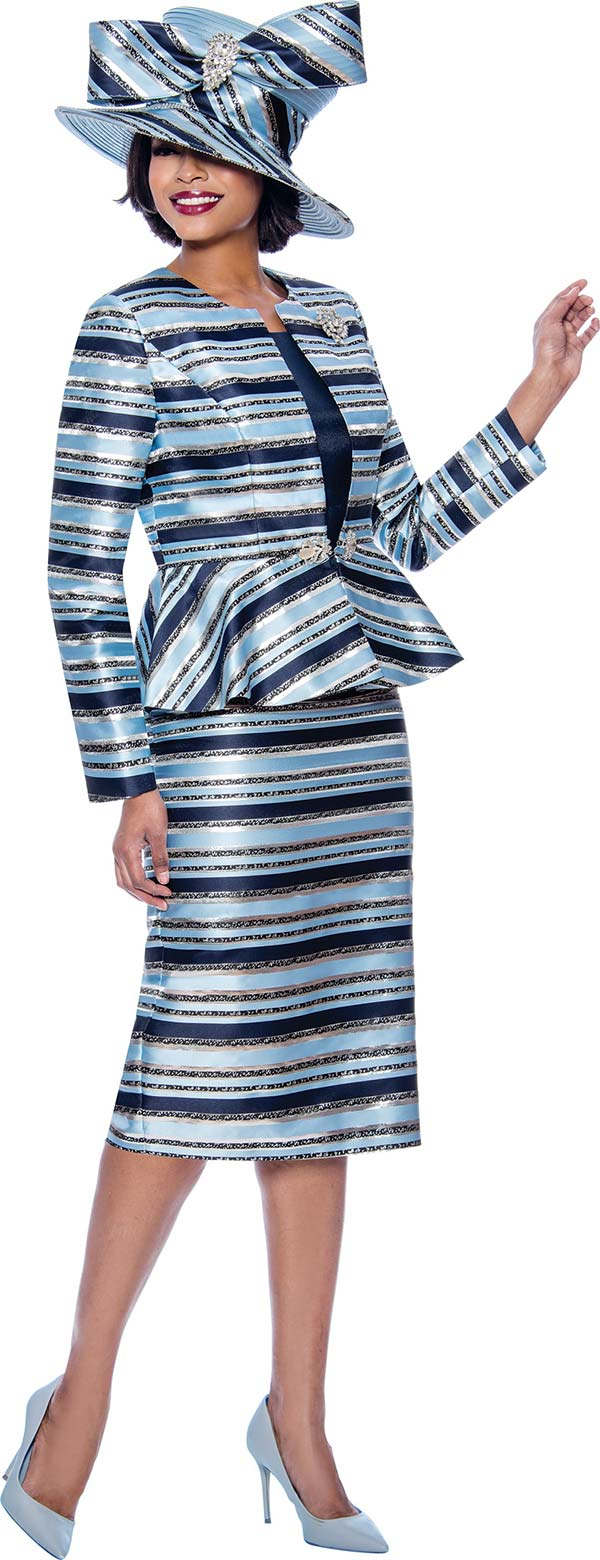 Terramina 7820 - Womens Striped Church Suit With Peplum Jacket