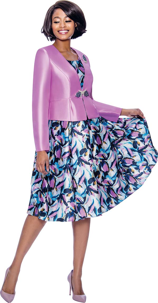 Terramina 7821 Multi Color Print Dress With Solid Silk Look Jacket