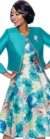Terramina 7822 Floral Print Dress With Solid Silk Look Flounce Sleeve Jacket