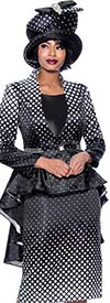 Terramina 7824 - Diamond Grid Pattern Design Church Suit With Extended Peplum Jacket