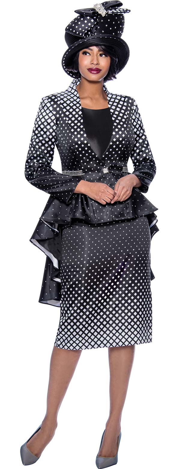 Terramina 7824 - Diamond Grid Pattern Design Church Suit With Extended Peplum Jacket