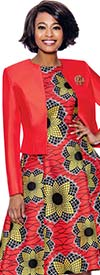Terramina 7825 Spyrographic Floral Print Dress With Solid Silk Look Jacket