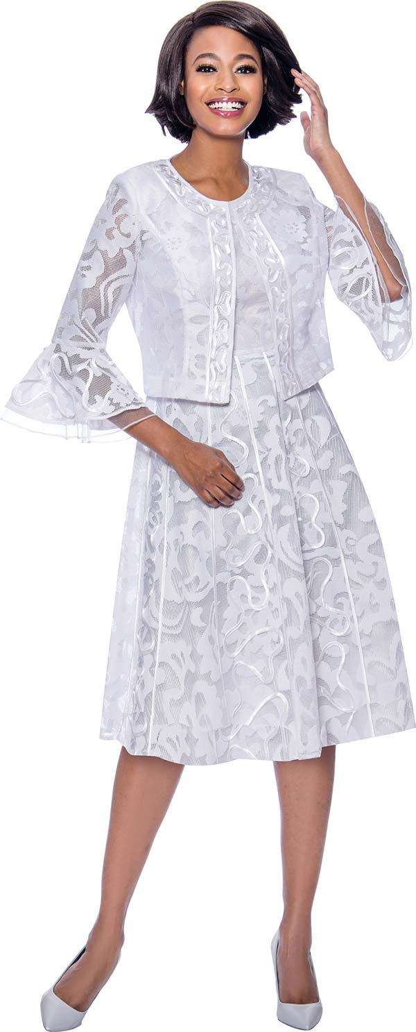 Terramina 7826-White - Dress In Lace Design With Bell Cuff Sleeves