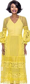Terramina 7827-Yellow - Puff Sleeve Organza Shoulder Design Dress With Cut-Out Features And Pom Pom Fringe Trim