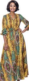 Terramina 7829 - Vee Neckline Multi-Color Print Pattern Dress