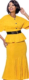 Terramina 7831 - Textured Fabric Womens Flared Skirt Suit With Belted Peplum Jacket