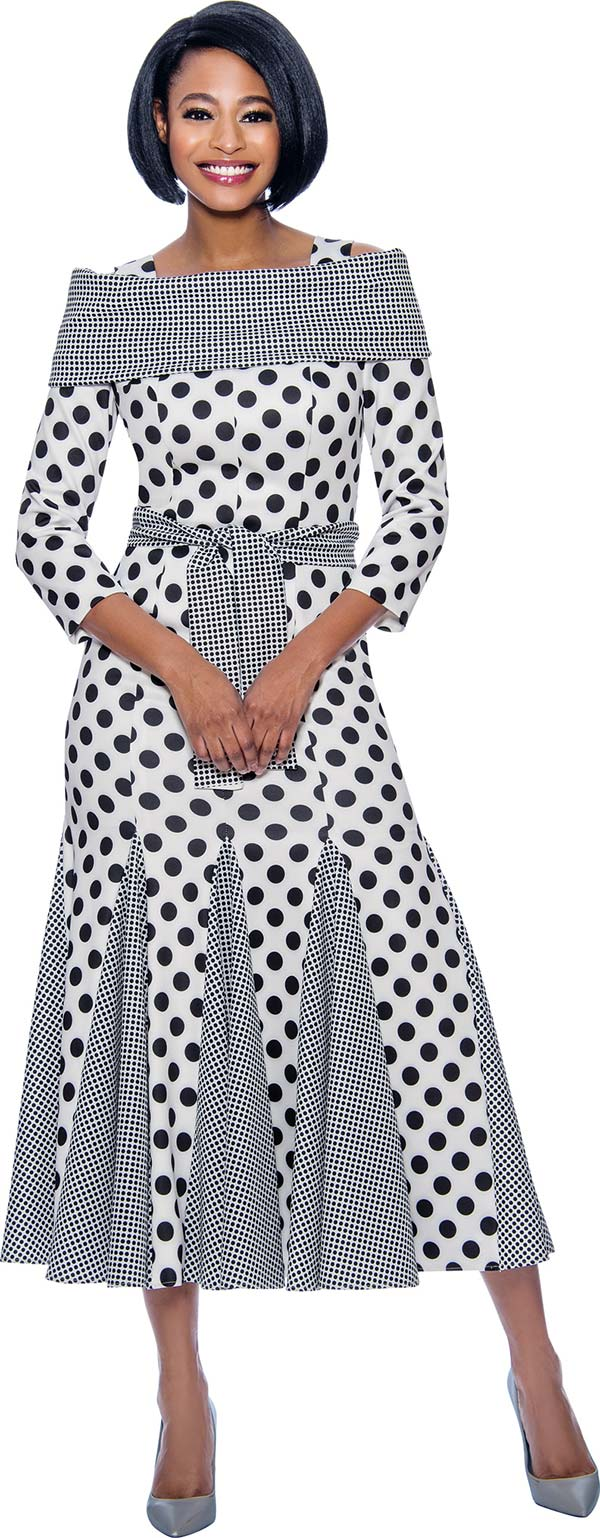 Terramina 7832 Polka Dot Print Godet Pleated Dress With Off Shoulder Portrait Collar & Sash